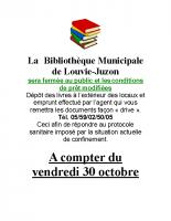 FERMETURE BIBLIOTHEQUE COVID19 du 30 Octobre 2020